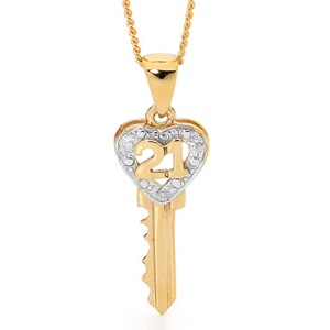 Image of Diamond Gold Pendant - 21 Key - Heart (61820)