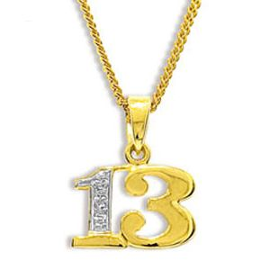 Image of Diamond Gold Pendant - 13 Number Pendant (62050/13)