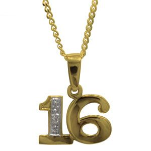 Image of Diamond Gold Pendant - 16 Number Pendant (62050/16)