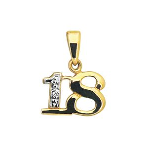 Image of Diamond Gold Pendant - 18 Number Pendant (62050/18)