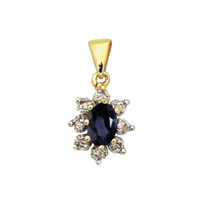 Image of Black Sapphire and Diamond Gold Pendant - Cluster (62903/SLG)