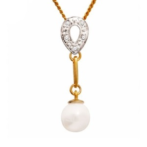 Image of Pearl and Diamond Gold Pendant - Drop (64512)