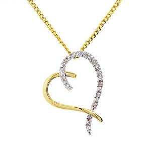 Image of Diamond Gold Pendant - Heart 2 Tone (64961)