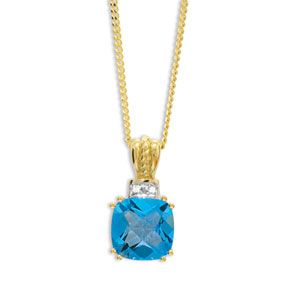 Image of Blue Topaz and Diamond Gold Pendant - Checkerboard (65078/BT)