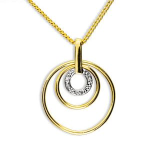 Image of Diamond Gold Pendant - Circle (65096)