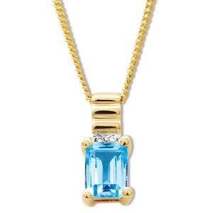 Image of Blue Topaz and Diamond Gold Pendant - Ribbed (65254/BT)