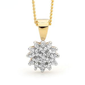 Image of Cubic Zirconia CZ Gold Pendant - Cluster Setting (65434/CZ)