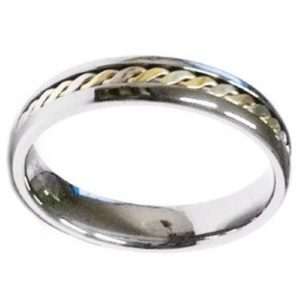 Image of Tungsten and Gold Ring - 81165P (81165P)