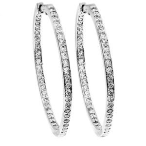 Image of Diamond Platinum Earrings - Circle of Life Hoop (PT55049A60)