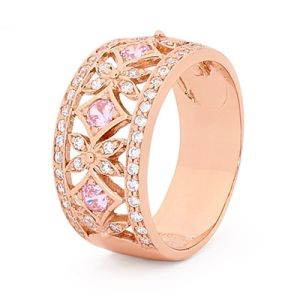 Image of Pink Cubic Zirconia CZ and Cubic Zirconia CZ Rose Gold Ring - Filigree