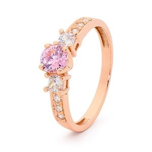 Image of Pink Cubic Zirconia CZ and White CZ Rose Gold Ring - Three Stone (R253
