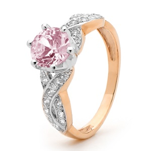 Image of Pink Cubic Zirconia CZ Rose Gold Ring - Engagement CZ Infinity (R25403