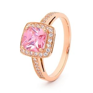 Image of Pink Cubic Zirconia CZ and White CZ Rose Gold Ring - Halo (R25419/CZP)