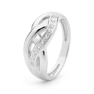 Image of Diamond White Gold Ring - Plait Style (W23047)