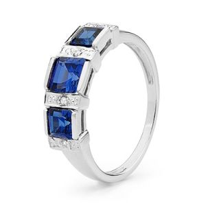 Image of Sapphire and Diamond White Gold Ring - Trilogy Princess (W25371/SACR)