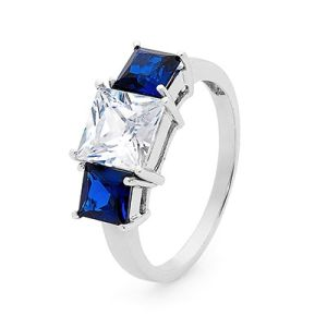 Image of Sapphire and Cubic Zirconia CZ White Gold Ring - Three Stone (W25486/S