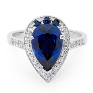 Image of Sapphire and Cubic Zirconia White Gold Ring - Cluster (W25564/SACR)
