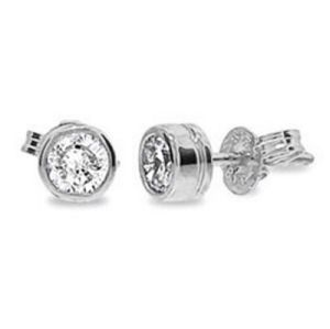 Image of Diamond White Gold Earrings .07ct Bezel (W50116/B07)