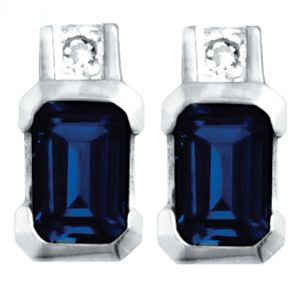 Image of Black Sapphire and Diamond White Gold Earrings (W54660/SLG)