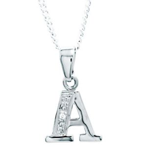 Image of Diamond White Gold Pendant - A Initial (W62050/A)