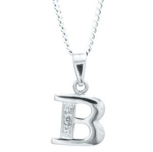 Image of Diamond White Gold Pendant - B Initial (W62050/B)