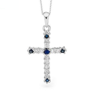 Image of Sapphire White Gold Pendant - Cross (W65472/S)