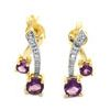 Amethyst and Diamond Gold Drop Earrings