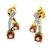 Garnet and Diamond Gold Earrings - Crossover