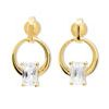 Cubic Zirconia CZ Gold Earrings - Circle