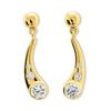 Cubic Zirconia CZ Gold Earrings - Teardrop