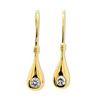 Cubic Zirconia CZ Gold Earrings - Teardrop Hook