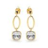 Cubic Zirconia CZ Gold Earrings - loop