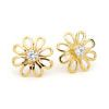 Cubic Zirconia CZ Gold Earrings - Flower