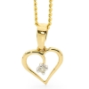 Diamond Gold Pendant - Heart