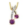 Amethyst and Diamond Gold Pendant - Cherry