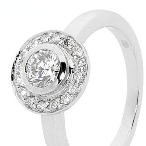Image of Diamond 18ct White Gold Ring - Engagement Round Halo (18W24997A75)