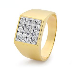 Diamond Gold Ring - Men's Square Pave