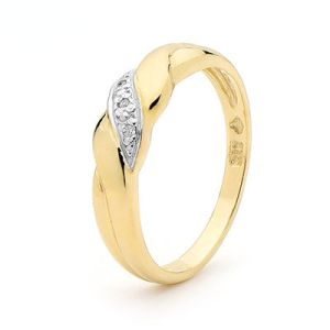 Image of Diamond Gold Ring - Rope (21850)