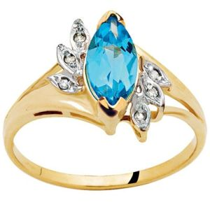 Image of Blue Topaz and Diamond Gold Ring - Marquise Cocktail (21974/BT)