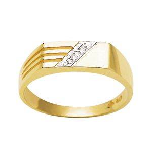 Image of Diamond Gold Ring - Men's Ribbed (22344)
