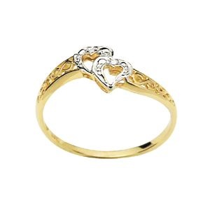 Image of Diamond Gold Ring - Heart Double (22355)