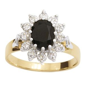 Image of Sapphire and Diamond Gold Ring - Cluster (22414/S)