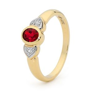 Image of Ruby and Diamond Gold Ring - Heart (22491/CR)