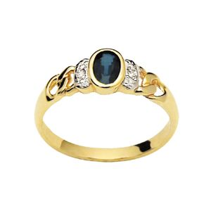Image of Sapphire and Diamond Gold Ring - Bezel (22727/S)