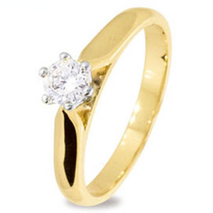 Diamond Gold Ring - Engagement 6 Claw White Gold