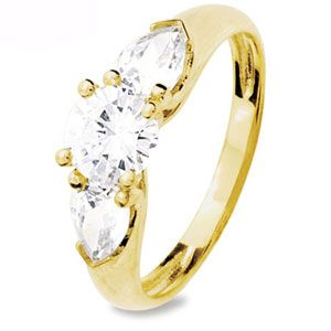 Image of Cubic Zirconia CZ Gold Ring - Trilogy 3 Stone (23205/CZ)