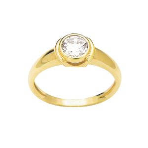 Image of Cubic Zirconia CZ Gold Ring - Double Bezel (23207/CZ)