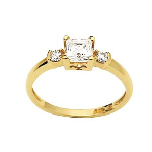 Image of Cubic Zirconia CZ Gold Ring - Princess Trilogy (23213/CZ)