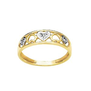Image of Diamond Gold Ring - Hearts (23552)