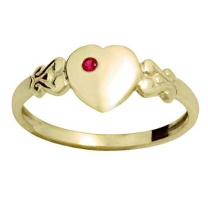 Image of Ruby Gold Ring - Heart Signet Size N (23686/CR'N)